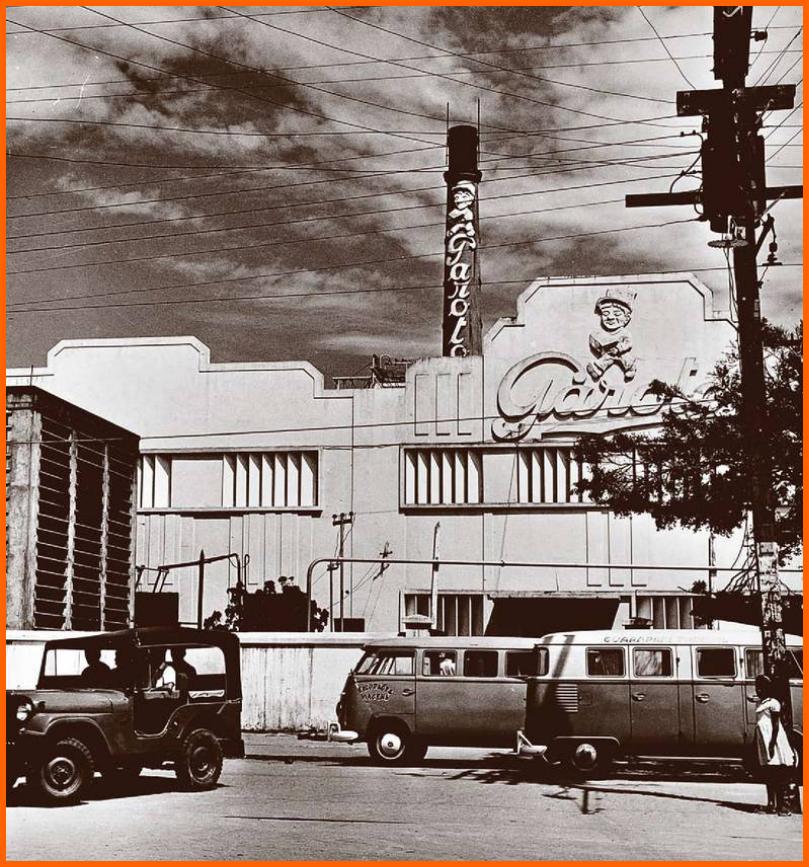 Fachada da Fábrica da Chocolates Garoto nos anos 50.